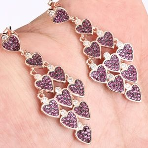 sterling rose gold heart earrings cz ruby dangle